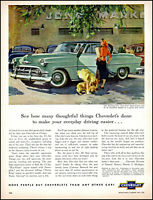 1953 John Gannam art Chevrolet Car mom girl dog market vintage print ad  L37