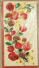 Beautiful Papyrus Mother's Day card - Pink and Orange Poppy Flowers Gem Leaves