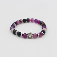 Dog Paw Print Charm Natural Stone Purple Pink 6MM Bead Stretch Bracelet Keepsake