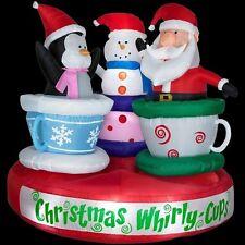 CHRISTMAS INFLATABLE ANIMATED SANTA, PENGUIN & SNOWMAN  TEA CUP RIDE