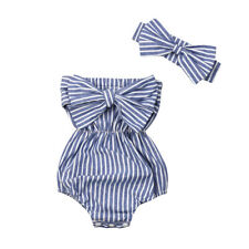 Newborn Baby Girls Clothes Striped Jumpsuit Romper Bodysuit + Headband Outfits