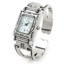 Silver Western Style Rectangle Face Decorated Women's Bangle Cuff Watch