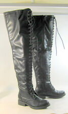 """new Black Lace Up Front Round Toe 1"""" Thick Heel Over Knee Sexy Boot Size 7"""