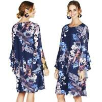 NEW COVER Dress Size 10 12 14 16 18 Navy Floral Ruffle Bell Sleeve Tunic Shift