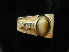 Vintage Men's Ring Tiger Eye & Cubic Zirconia 10k GP