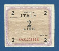 ITALIA // ITALY -- ALLIED MILITARY CURRENCY -- 2 LIRE ( 1943 ) -- F+ - PICK M11a