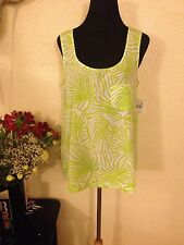 Falls Creek NWT Sleeveless Top Blouse Green & White Leaf Print Chest Pocket L
