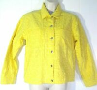 New Chico's Womens size 0 Small canary yellow 100% Quilted Cotton LS jacket