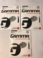 Set of 3 NEW Gamma Live Wire XP Black 16G Tennis String Lot 1.32mm 40ft GLWX-11