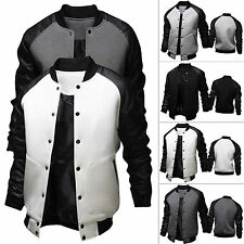 Mens Varsity Baseball Jackets College Letterman Leather Coat Sweatshirt Outwears