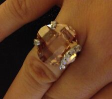 Sterling Silver & Cubic Zirconia Ring Size 7 Champagne