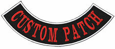 """Custom Embroidered XL Bottom Rocker 15"""" Patches Biker Sew or Iron on Patches"""