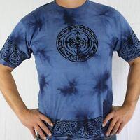 T-shirt Batique coton tribal Bleu inde goa hippie Psy Transe taille L HOMME
