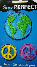 New 3 pc Earth Peace Globe Iron-On Embroidered Applique Sew Perfect