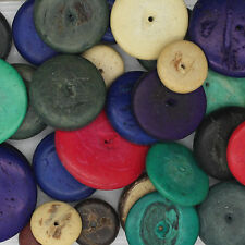 Coco Discs Coconut Shell Flat Washer Beads Hand Cut Mixed Colors & Sizes Appx 25