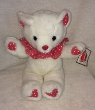 """Vintage Plush Teddy Bear White Red Heart 12"""" Express It Ruffled Neck Stuffed Toy"""