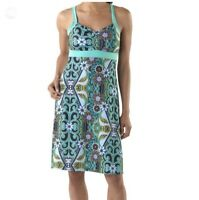 Prana Amaya Dress Small S Tank Empire Green Purple Floral Print