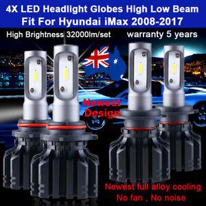 For Hyundai iMax 2009 2010 4x Headlight Globes High Low beam LED bulbs 32000LM