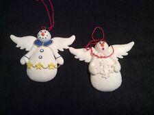 16Y Set of 2 Snowman Angel Ornaments