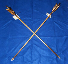 "Set of 2 Native American Arrows 24"" Brown & White Feathers Stone Arrowheads 06"