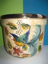 Hubert Béquet grand cache-pot décor oiseau de paradis