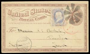 1876 NYFM TR-W14 Fancy cancel 1¢ #UX3 postal card #156 to Switzerland