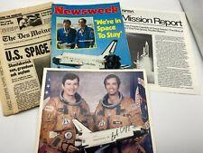 Astronaut John Young Bob Crippen Autographed Nasa Sts-1 Photo & Newsweek Package