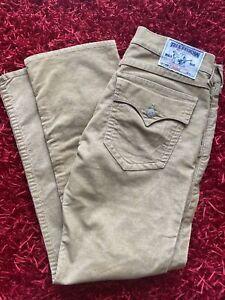 True Religion Jeans Tan Brown Corduroy Straight Authentic Pants Mens Size 36
