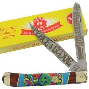 Kissing Crane Peace and Love Tie Dye Bone Trapper Pocket Knife KC5850