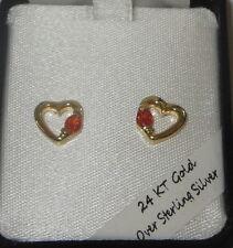 Heart Earrings 24 KT Gold Over Sterling Silver Vermeil Pierced Orange New in Box