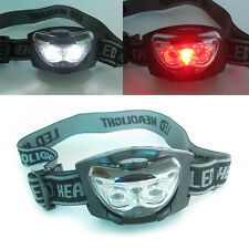 Head Torch Light Hands Free Lamp Bright White & Red LED Camping Night #