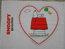 "Peanuts Snoopy On Doghouse Quilties Wall Hanging Fabric Panel 14"" x 14"""