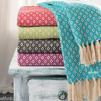 Recycled Cotton Woven Diamond Sofa Settee Bedspread Fringe Blanket Throw 130x180