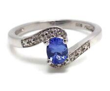 Tanzanite oval ring, solid Sterling Silver, uk size L (smallish), diamond. UK.