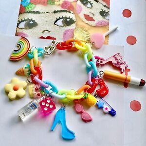 Rainbow Chain Charm Bracelet / Quirky/ Vodka /Cigarette/ Dice /Daisy 90's / Punk