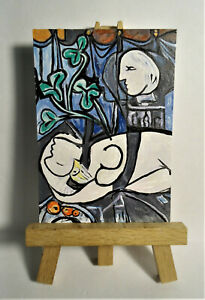 Nude, Green Leaves 1932 ACEO Original PAINTING by Ray Dicken a Pablo Picasso