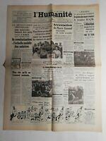 N394 La Une Du Journal L'humanité 22 septembre 1949 arrestation de Pierre Gayaud