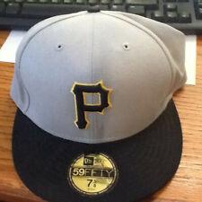 Pittsburgh Pirates New Era 59FIFTY Fitted Gray Black Baseball Cap Sz 7 5/8 EUC