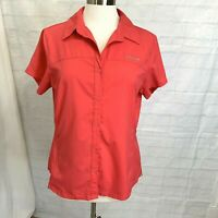 Columbia Omni Shade Women's L Top Orange Coral Sun Protection Pocket Vented #S