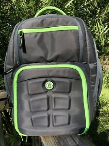 Nice 6 Pack Fitness Backpack Gray Lime - Green Trim  Meal Prep Travel Bag 3 Pack