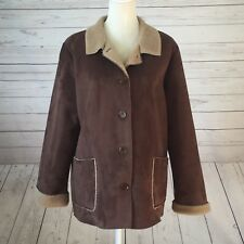 Boden Womens Coat Brown Fleece Lined Button Front Winter Jacket Faux Suede 16