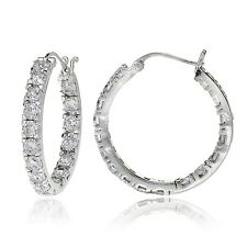 Sterling Silver Cubic Zirconia Inside Out 3x20 mm Round Hoop Earrings