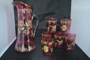 MOSER CRANBERRY ENAMELED WATER PITCHER Lemonade GLASS BOHEMIAN 7 piece set