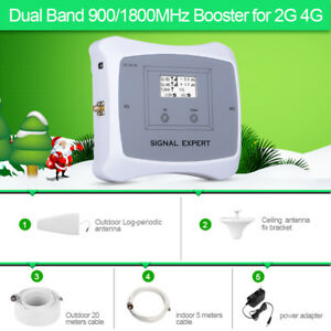GSM 2G 4G LTE Dual Band 900/1800MHz Mobile Signal Booster Cover 500m2 Repeater