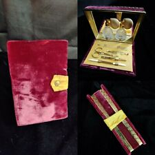 Vintage Griffon 22k Gp Dark Pink Velvet Manicure Travel Set Complete Germany