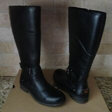 UGG EVANNA TALL BLACK WATERPROOF LEATHER RAIN SNOW BOOTS SIZE US 8.5 WOMENS