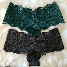 Sz Lg 2 Victoria's Secret Body By Victoria  Lace Up Sexy Shorty Scallop Panty