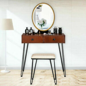 New Makeup Vanity Table Set w/ Stool Oval Mirror 3 Touch LED Light 2 Drawers US