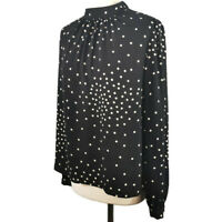 Warehouse Size 12 Black Ruched Long Sleeve Polka Dot Spotty Top Blouse High Neck