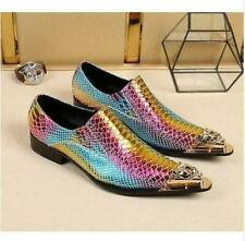 Men's Metal Head Pointy Toe Formal Dress Snake Skin Shoes Pull On Fashion Casual